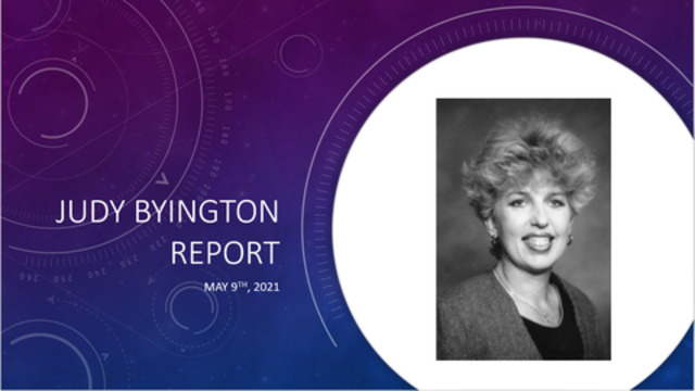 Judy Byington Update for May 9, 2021