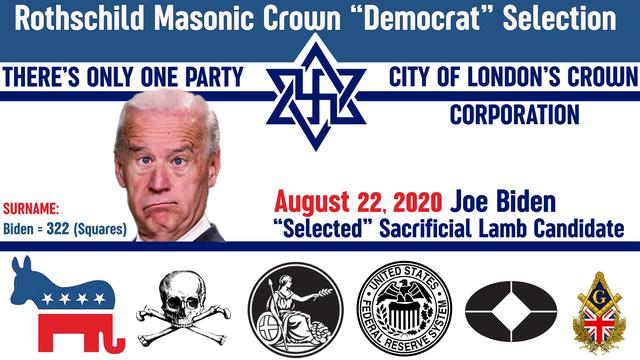 "Joe Biden: Rothschild Masonic Crown Corporation ""Left"" SELECTION"